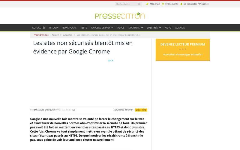 Les sites non sécurisés bientôt mis en évidence par Google Chrome : Presse Citron