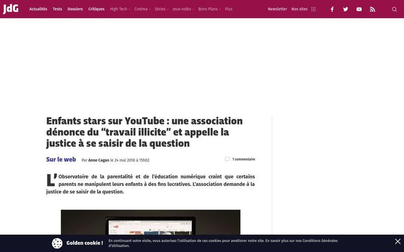 Enfants stars sur YouTube : une association dénonce du ?travail illicite? et appelle la justice à se saisir de la question (Journal du Geek)
