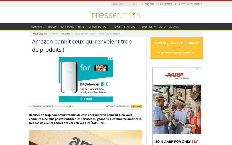 Presse Citron : Amazon bannit ceux qui renvoient trop de produits !